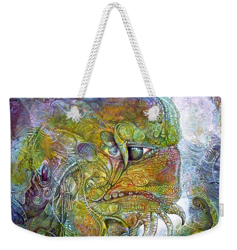 Tiamat Weekender Tote Bag featuring the painting Offspring Of Tiamat - The Fomorii Union by Otto Rapp