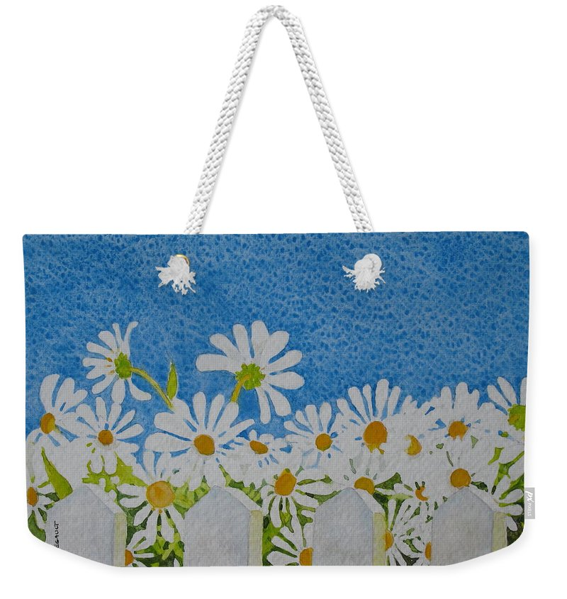 Flowers Weekender Tote Bag featuring the painting Oh Happy Day by Mary Ellen Mueller Legault