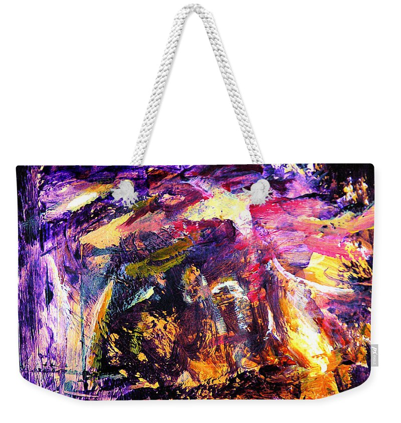 Abstract Weekender Tote Bag featuring the painting Oh Holy Night by Julianne Felton
