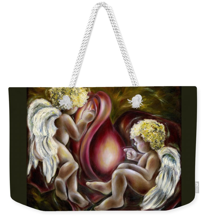 Angel Weekender Tote Bag featuring the painting Oh I Thought This Was A Cabbage. by Hiroko Sakai