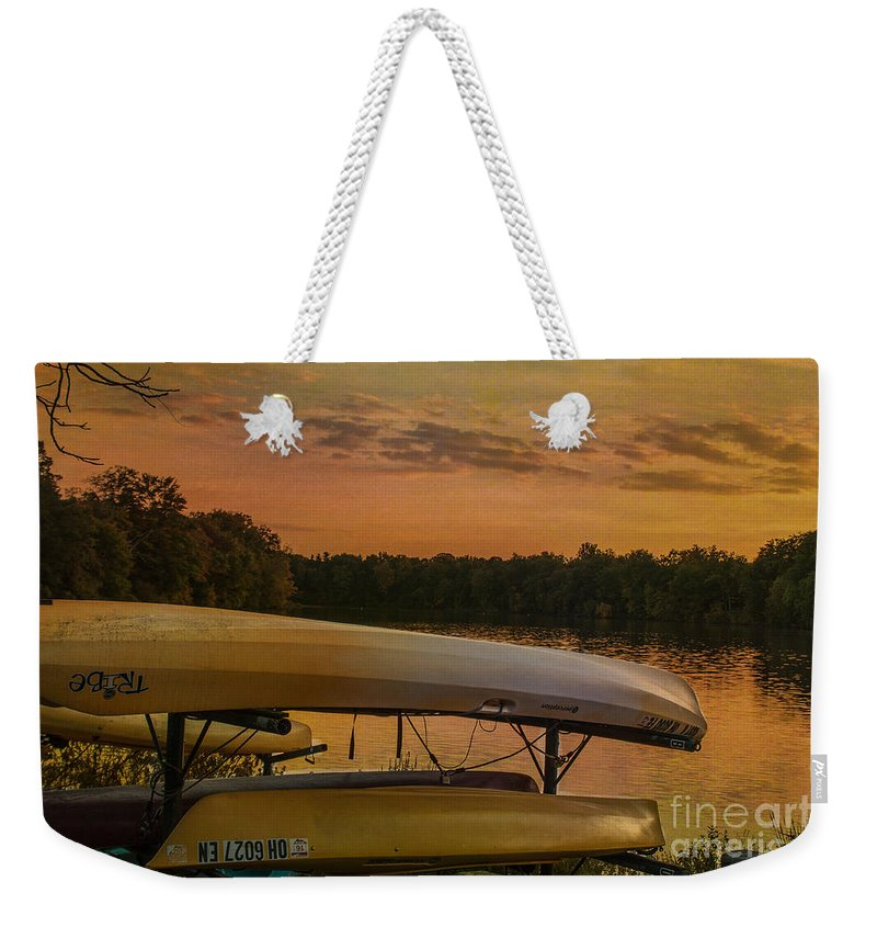Evening Weekender Tote Bag featuring the photograph Ohio Autumn In Orange by Janice Pariza