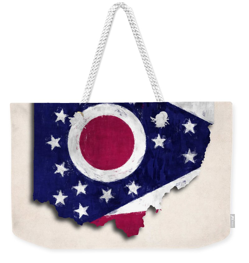 America Weekender Tote Bag featuring the digital art Ohio Map Art With Flag Design by World Art Prints And Designs
