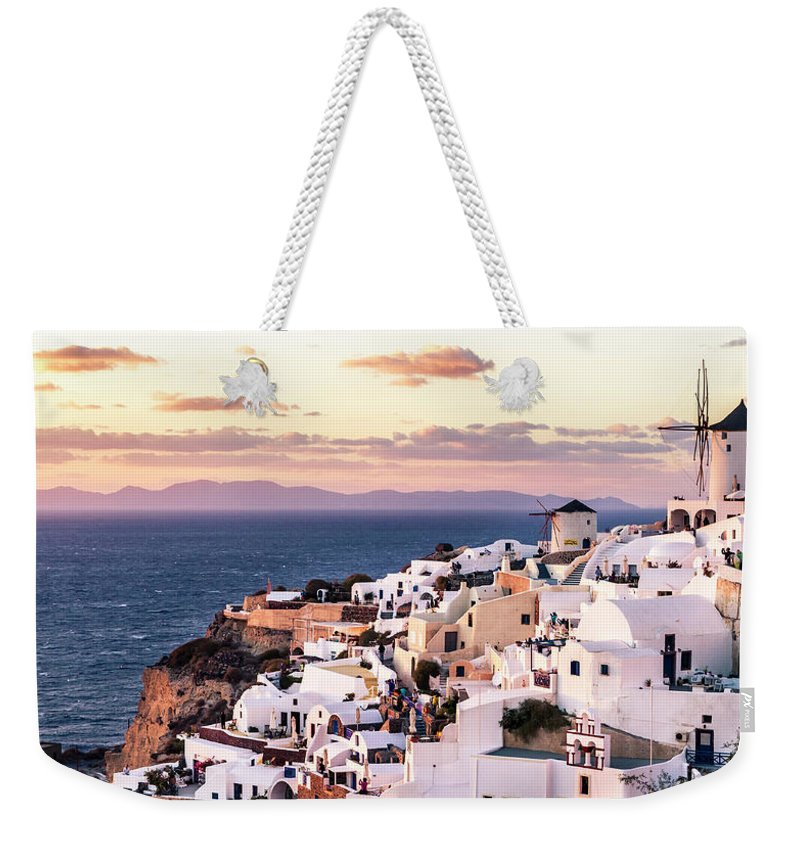Greece Weekender Tote Bag featuring the photograph Oia At Sunset by C. Fredrickson Photography