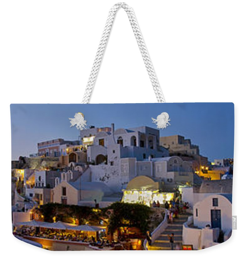 Island Weekender Tote Bag featuring the photograph Oia Panorama 3 by Jack Daulton