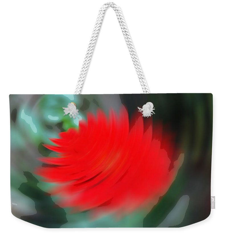 Flower Weekender Tote Bag featuring the digital art Oil Painting - A Spinning Effect To A Flower by Ashish Agarwal