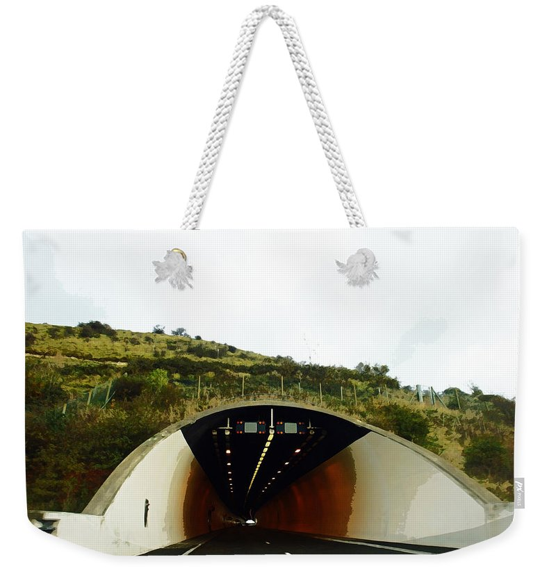 England Weekender Tote Bag featuring the digital art Oil Painting - Approaching A Tunnel by Ashish Agarwal