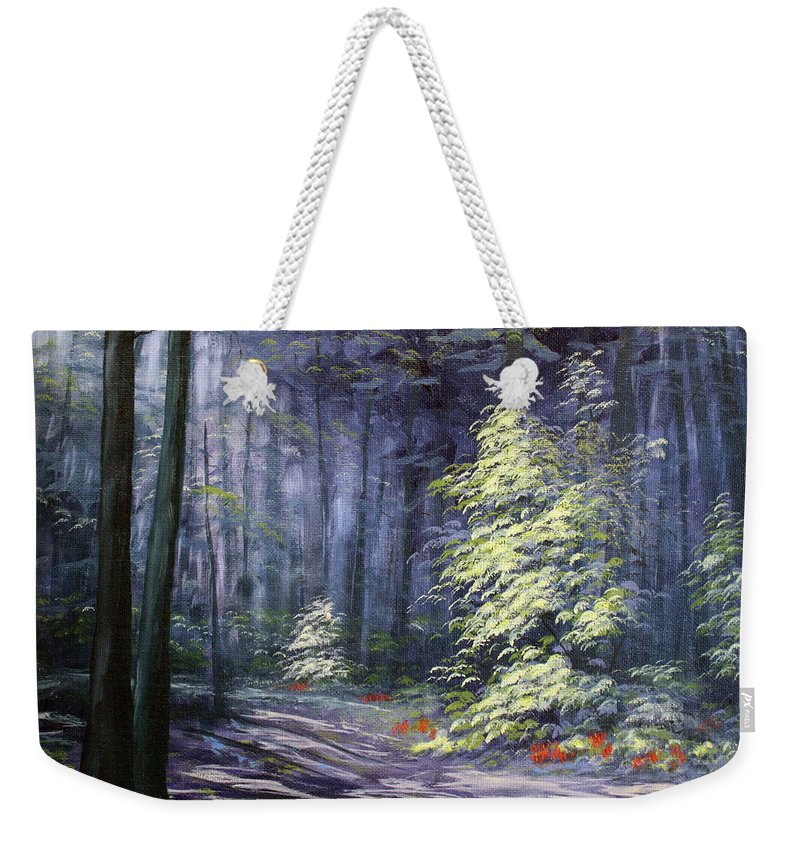 Roena King Weekender Tote Bag featuring the painting Oil Painting - Forest Light by Roena King