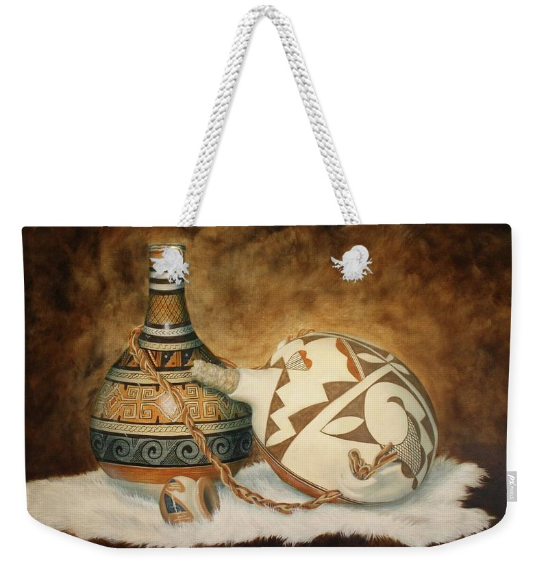Roena King Weekender Tote Bag featuring the painting Oil Painting - Indian Pots by Roena King