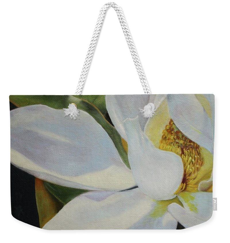 Roena King Weekender Tote Bag featuring the painting Oil Painting - Sydney's Magnolia by Roena King