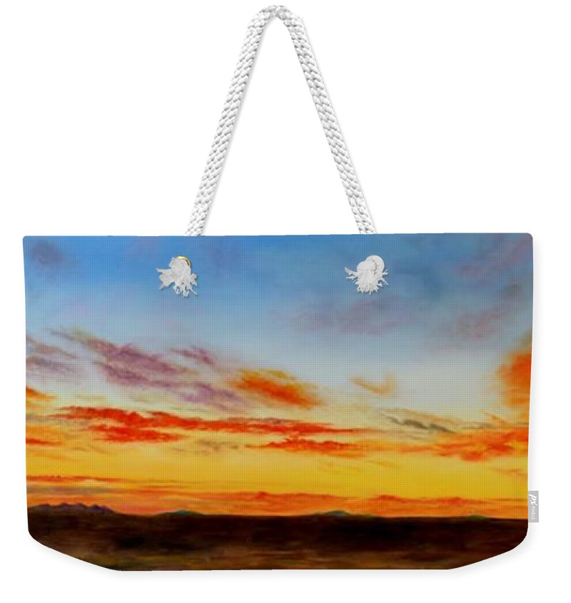 Roena King Weekender Tote Bag featuring the painting Oil Painting - When The Clouds Turn Red by Roena King
