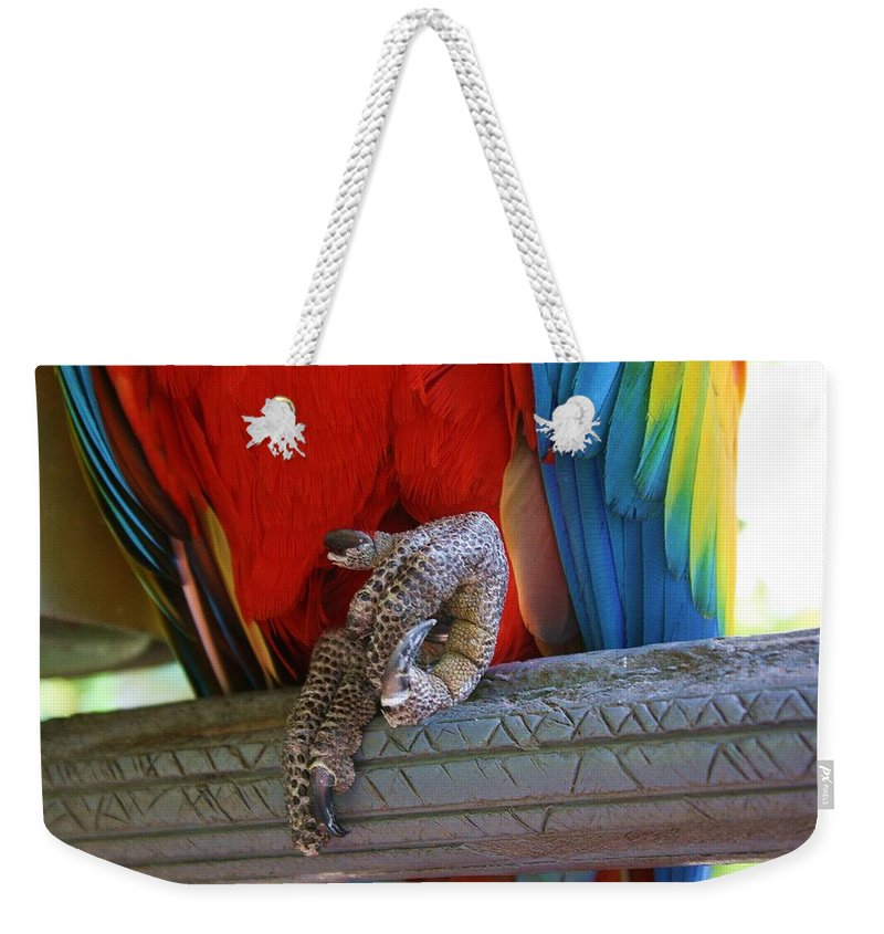 Parrot Weekender Tote Bag featuring the photograph ok by Chuck Hicks