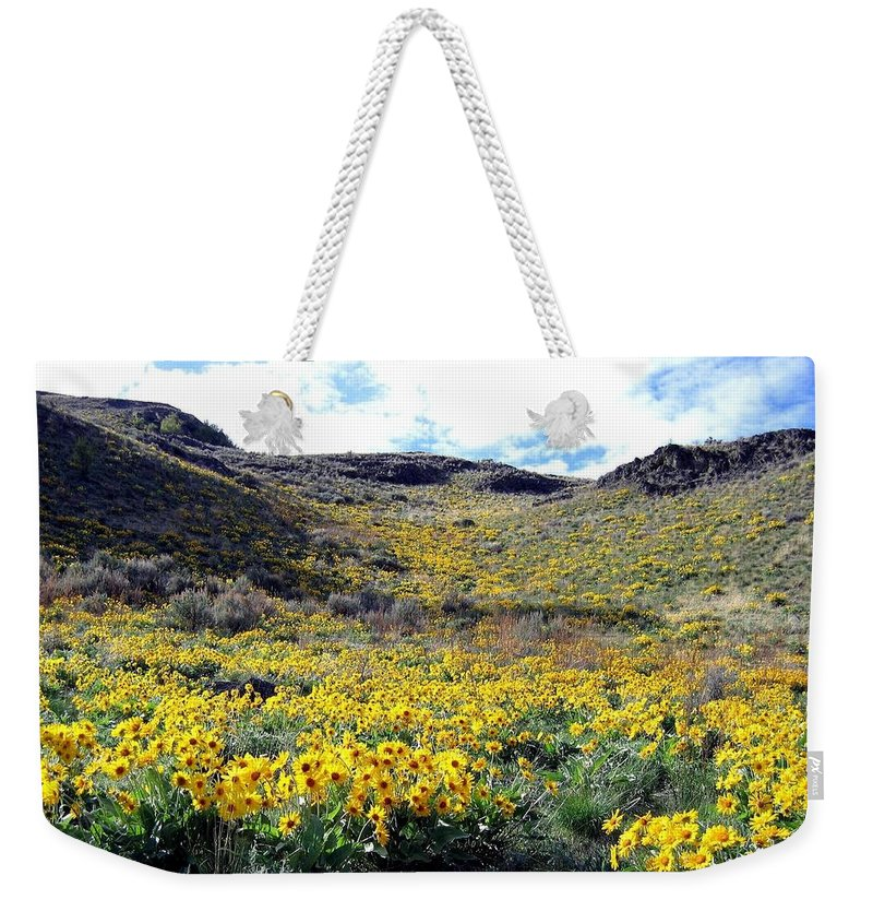 Wild Sunflowers Weekender Tote Bag featuring the photograph Okanagan Valley Sunflowers 1 by Will Borden