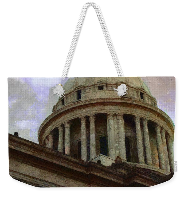 Architecture Weekender Tote Bag featuring the painting Oklahoma Capital by Jeffrey Kolker