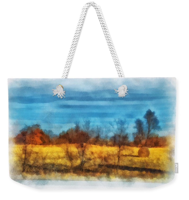 Hay Weekender Tote Bag featuring the photograph Oklahoma Hay Rolls Photo Art 03 by Thomas Woolworth