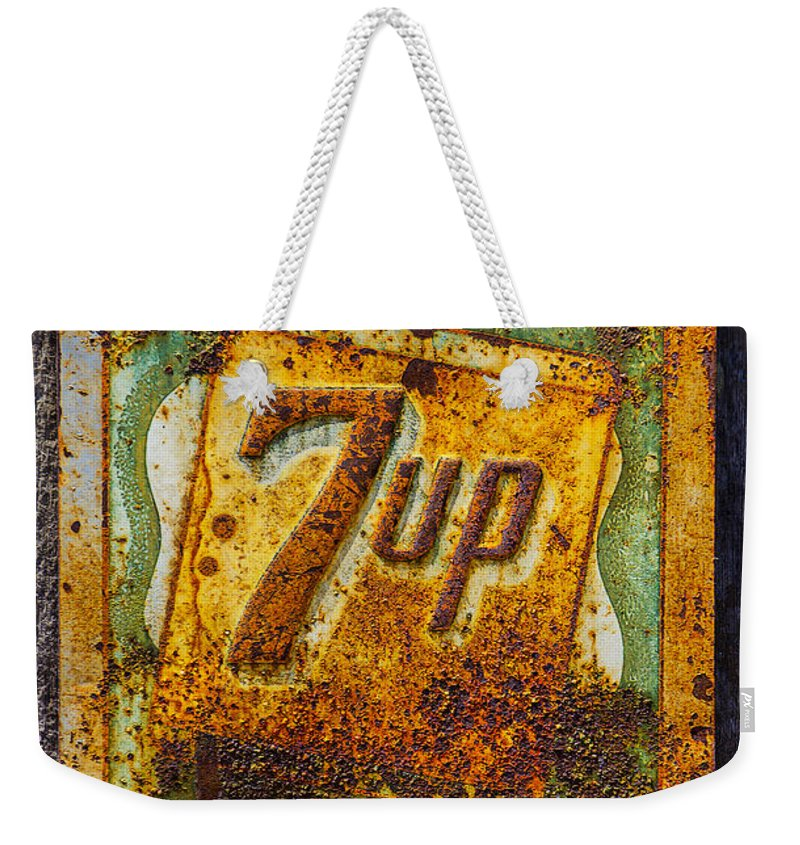 Old 7 Up Sign Weekender Tote Bag featuring the photograph Old 7 Up Sign by Garry Gay
