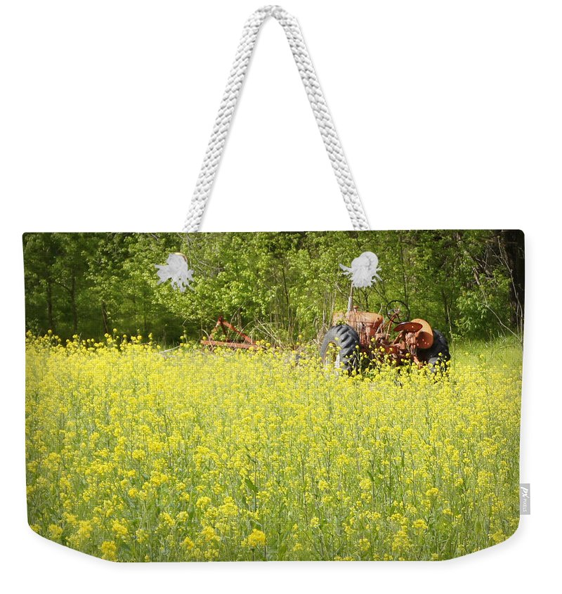Allis-chalmers Weekender Tote Bag featuring the photograph Old Allis by Cricket Hackmann