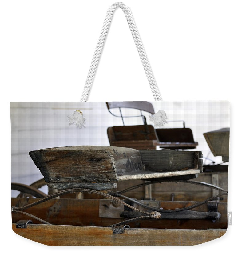 Closeup Weekender Tote Bag featuring the photograph Old American Buckboard Wagon Seats by Sally Rockefeller