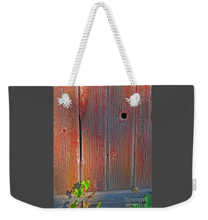 Barn Weekender Tote Bag featuring the photograph Old Barn Wood by Ann Horn