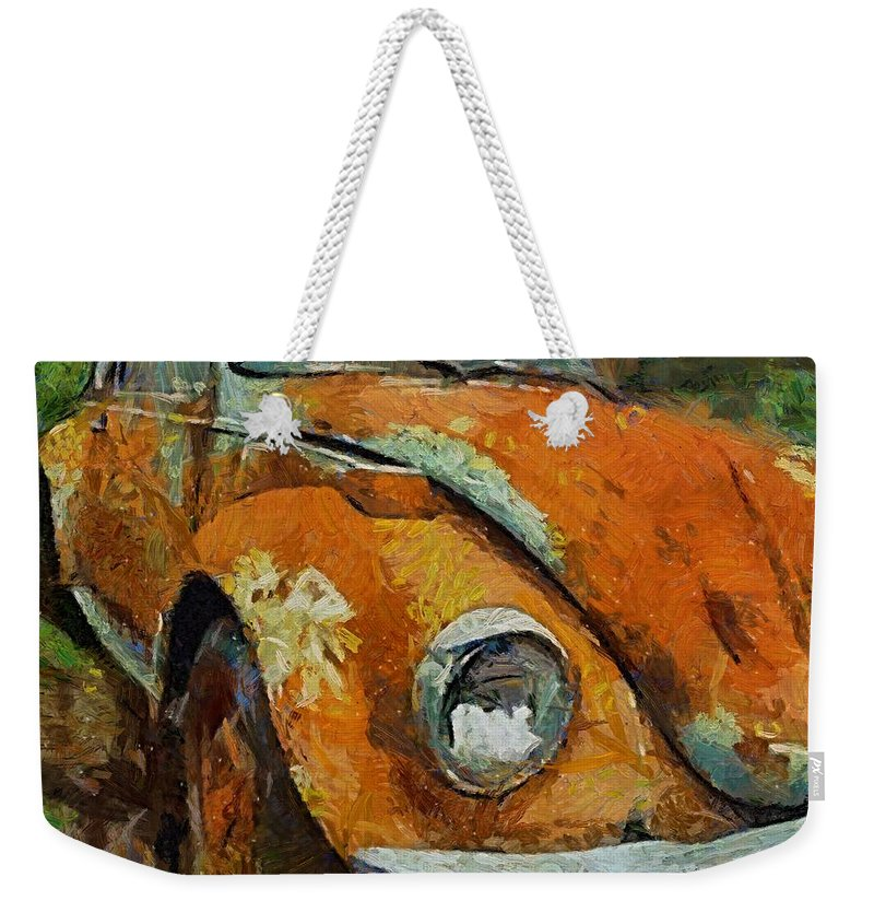 Car Weekender Tote Bag featuring the painting Old Beetle by Dragica Micki Fortuna