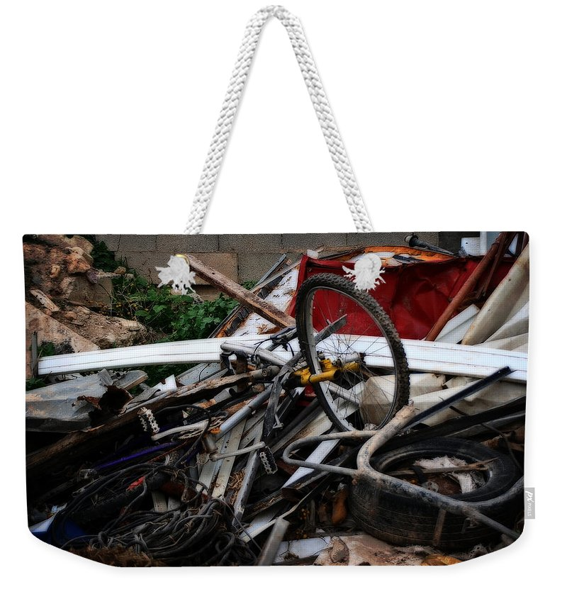 Bikes Weekender Tote Bag featuring the painting Old Bikes - Series I by Doc Braham