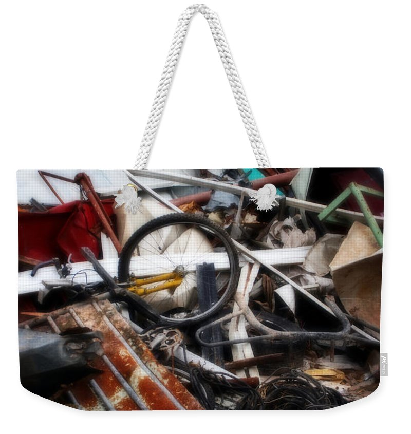 Bikes Weekender Tote Bag featuring the painting Trash And Dump by Doc Braham