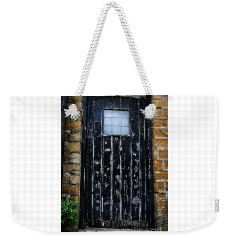 Garden Weekender Tote Bag featuring the photograph Vintage Cottage Black Door by Doc Braham
