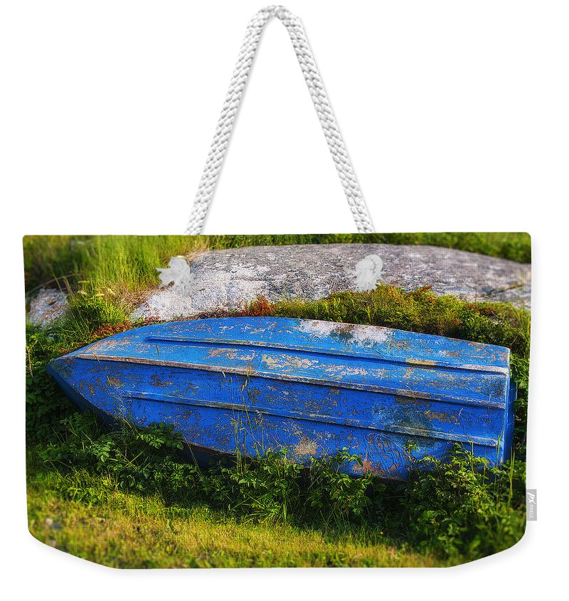 Old Weekender Tote Bag featuring the photograph Old Blue Boat by Garry Gay