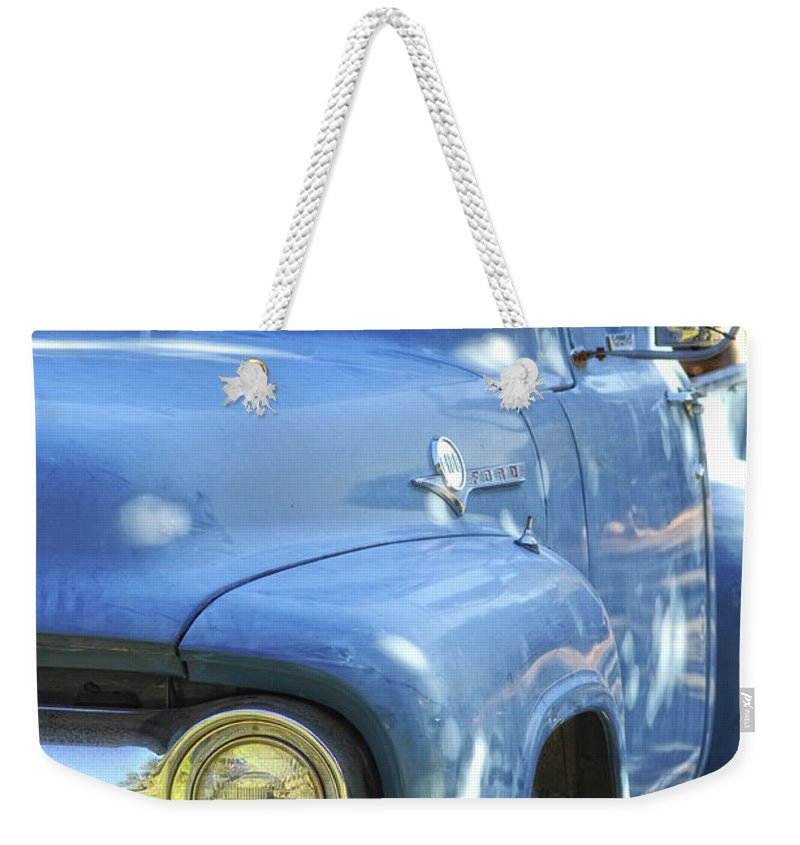 Ford Weekender Tote Bag featuring the photograph Old Blue by Donna Blackhall