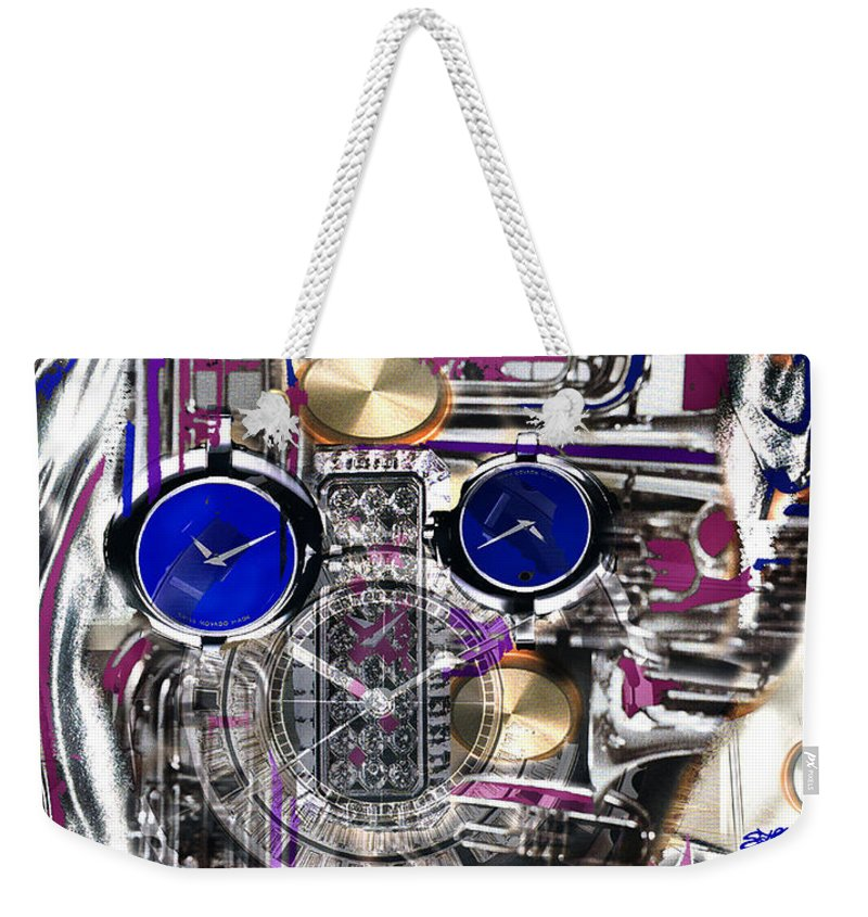Robotic Time Traveller Weekender Tote Bag featuring the digital art Old Blue Eyes by Seth Weaver