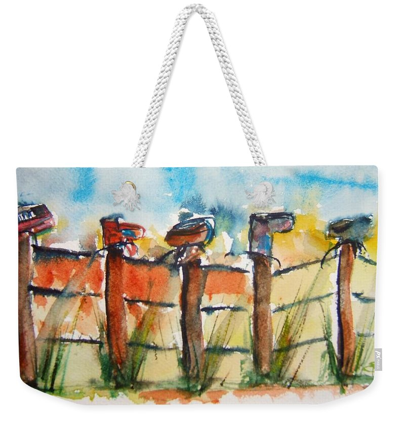 Boots Weekender Tote Bag featuring the painting Old Boots On Old Fence by Elaine Duras