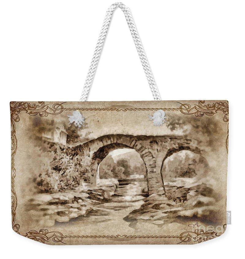 Old Bridge Weekender Tote Bag featuring the painting Old Bridge by Mo T