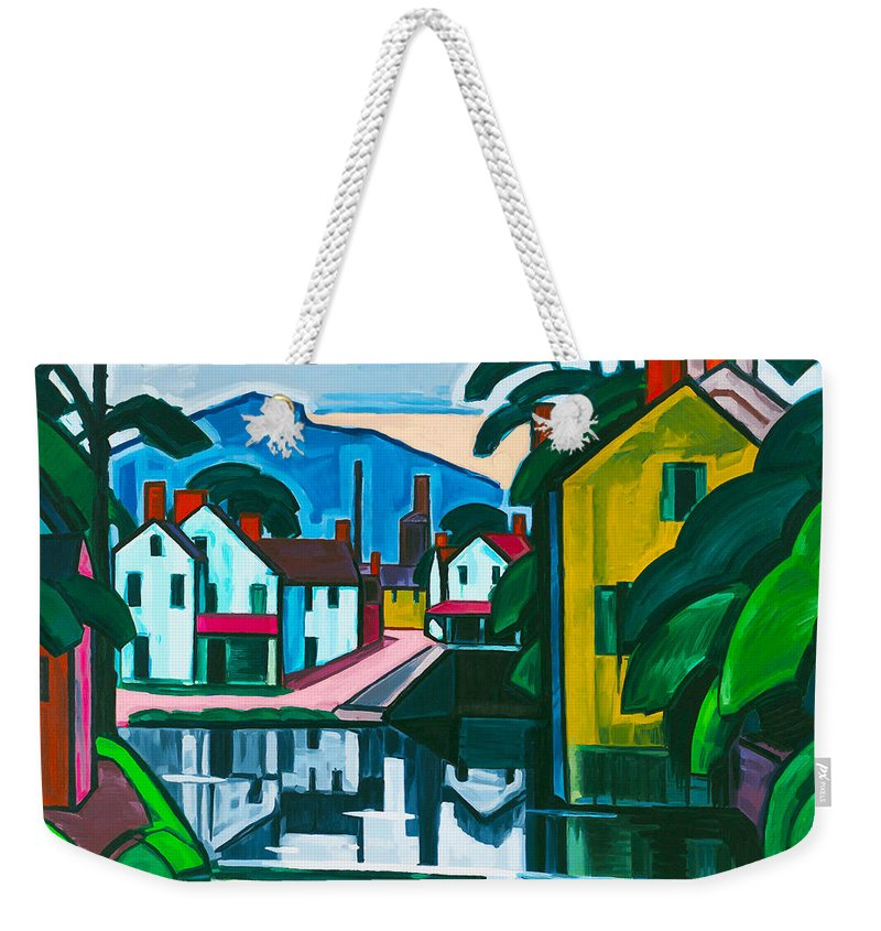 Oscar Florianus Bluemner Weekender Tote Bag featuring the digital art Old Canal Port by Oscar Bluemner
