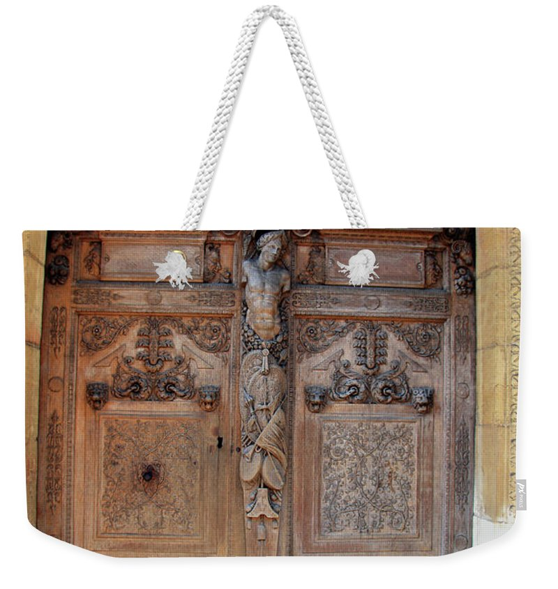 Door Weekender Tote Bag featuring the photograph Old Carved Church Door by Christiane Schulze Art And Photography