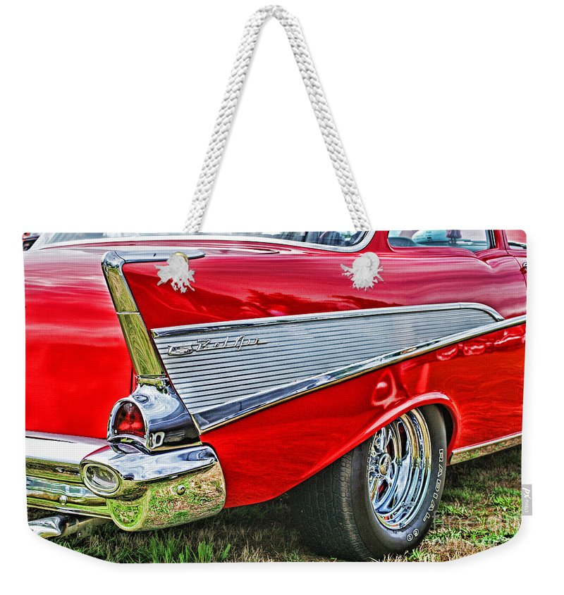 Cars Weekender Tote Bag featuring the photograph Old Chevy by Randy Harris