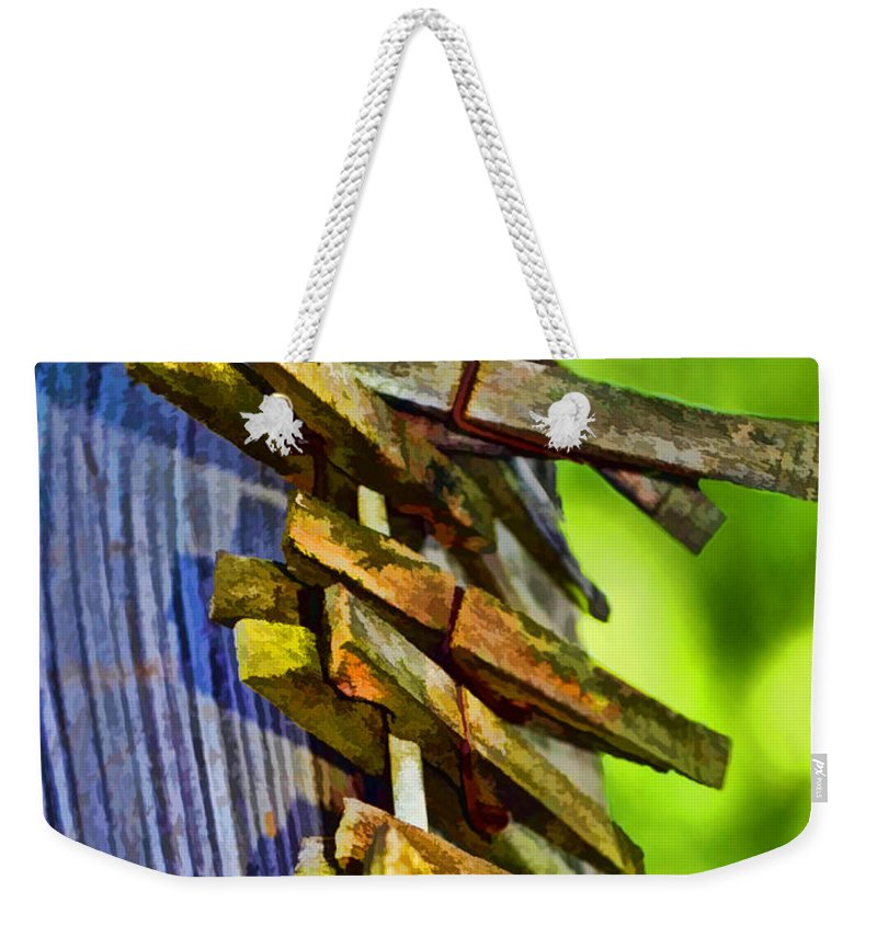 Rustic Weekender Tote Bag featuring the photograph Old Clothes Pins II - Digital Paint by Debbie Portwood