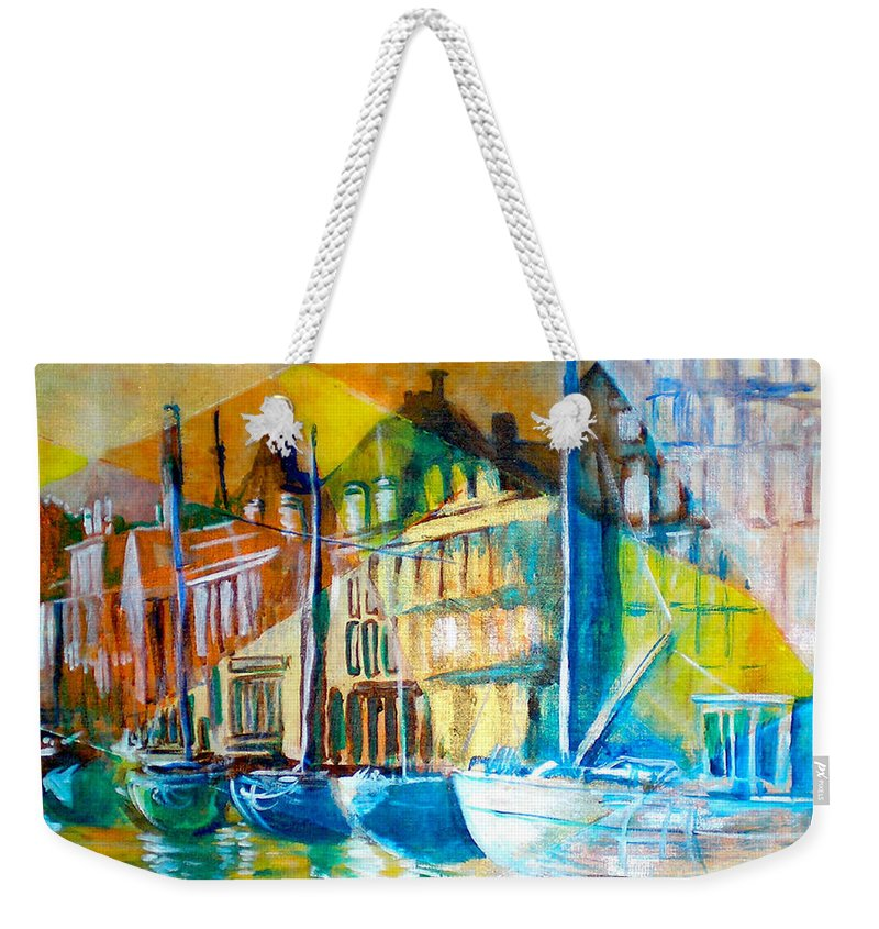 Old World Street Weekender Tote Bag featuring the painting Old Copenhagen Thru Stained Glass by Seth Weaver