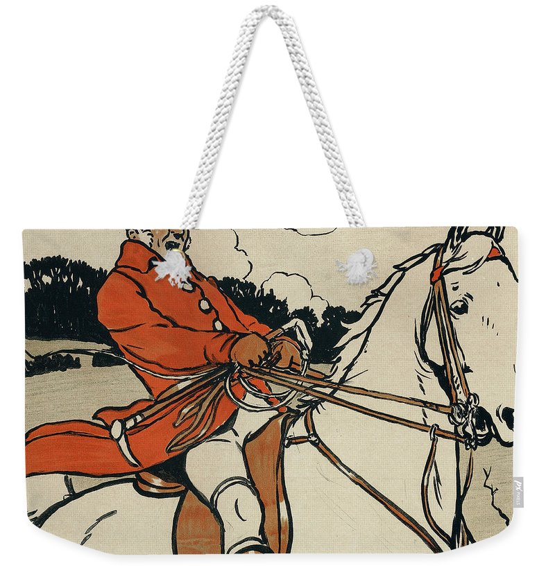 Male; Hunt; Hunter; Huntsman; Traditional; Sport; Pastime; Mounted; Riding; Horse; Horseback; Landscape; White; Red; Tailcoat; Jolly; Victorian; Edwardian; British Weekender Tote Bag featuring the painting Old English Sports And Games Hunting by Cecil Charles Windsor Aldin