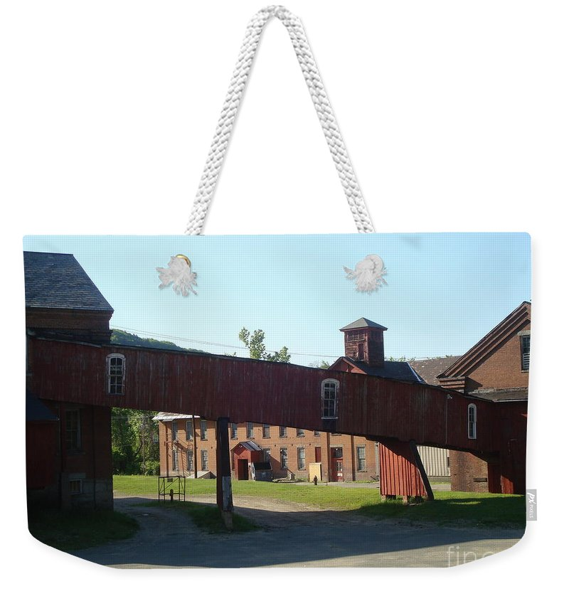 Old Weekender Tote Bag featuring the photograph Old Factory by Maili Page