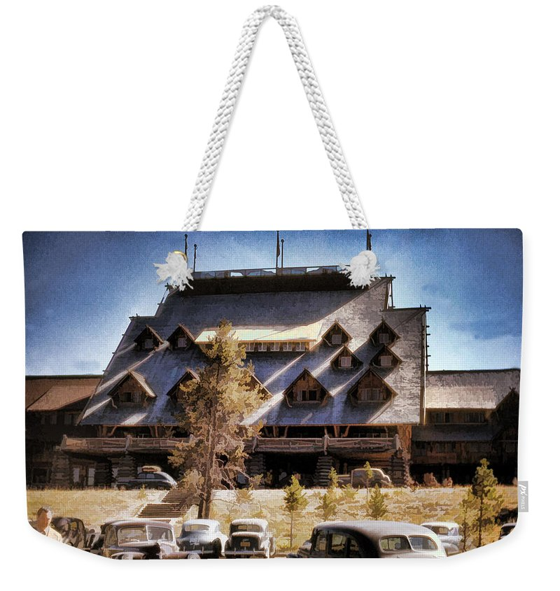 Old Faithful Weekender Tote Bag featuring the photograph Old Faithful Inn Yellowstone by Cathy Anderson
