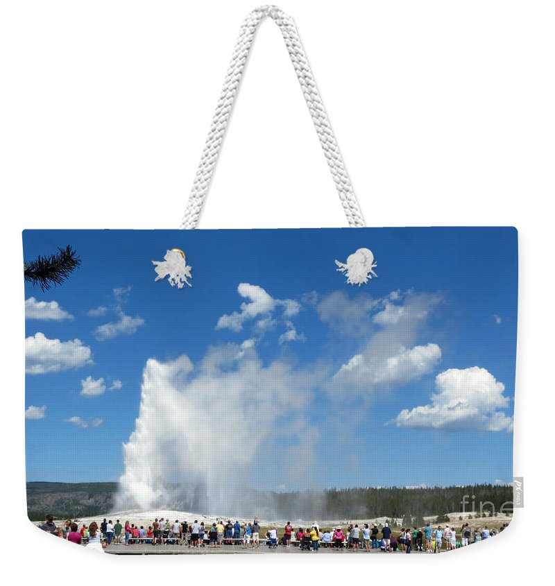 Geysers Weekender Tote Bag featuring the photograph Old Faithful. With Thanks To Lee by Ausra Huntington nee Paulauskaite