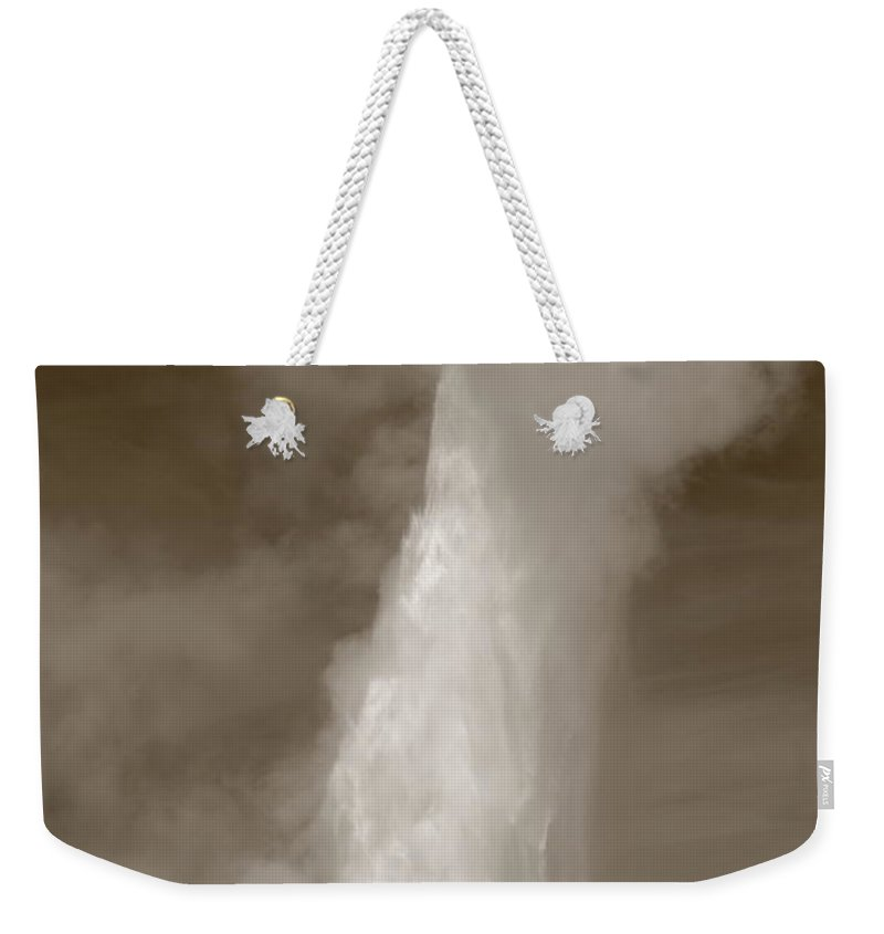 America Weekender Tote Bag featuring the photograph Old Faithful - Yellowstone Park In Sepia by Frank Romeo