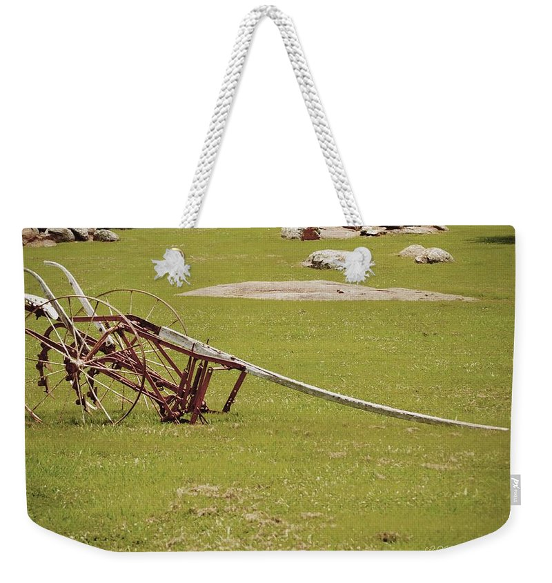 Old Weekender Tote Bag featuring the photograph Old Farming Till by Tara Potts