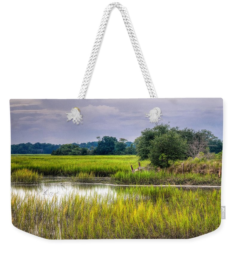 Storm Weekender Tote Bag featuring the photograph Old Fence Line At The Whale Branch by Scott Hansen