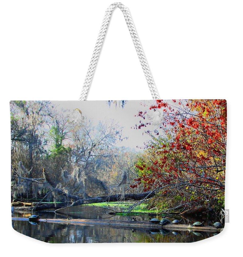 Santa Fe River Weekender Tote Bag featuring the photograph Old Florida Along The Sante Fe River by Barbara Bowen
