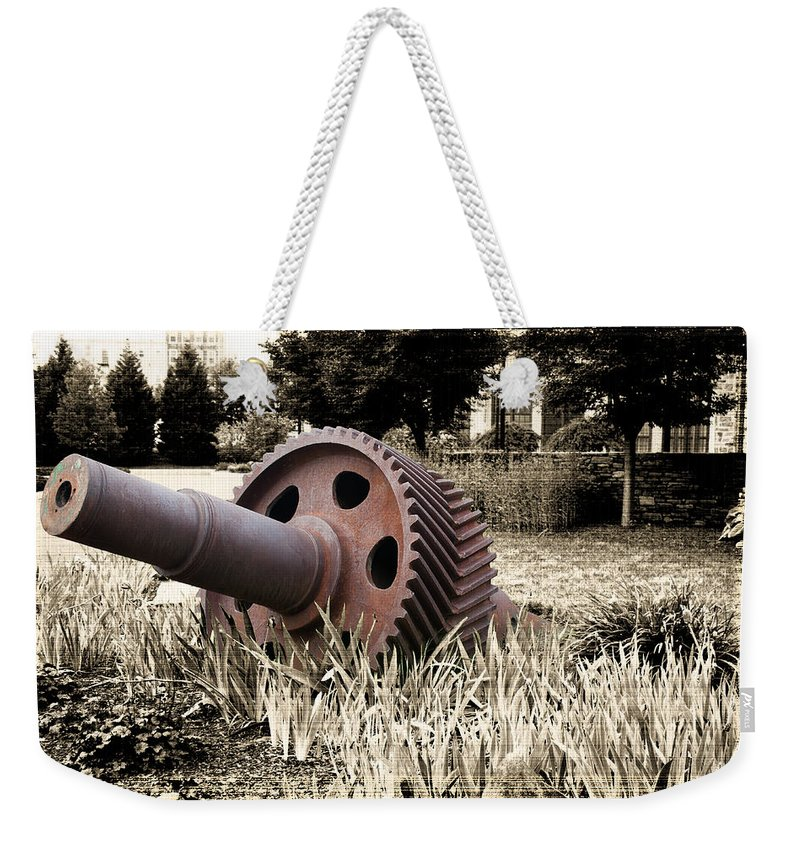 Industry Weekender Tote Bag featuring the photograph Old Foundry Gear by Michael Porchik