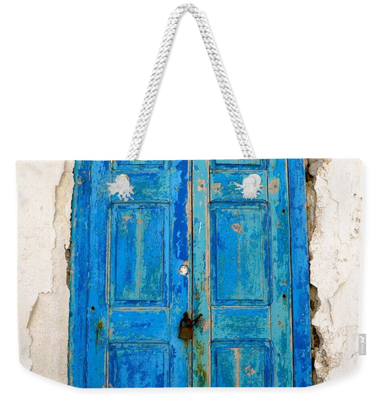 Shutter Weekender Tote Bag featuring the photograph Old Greek Shutter by Corinne Rhode