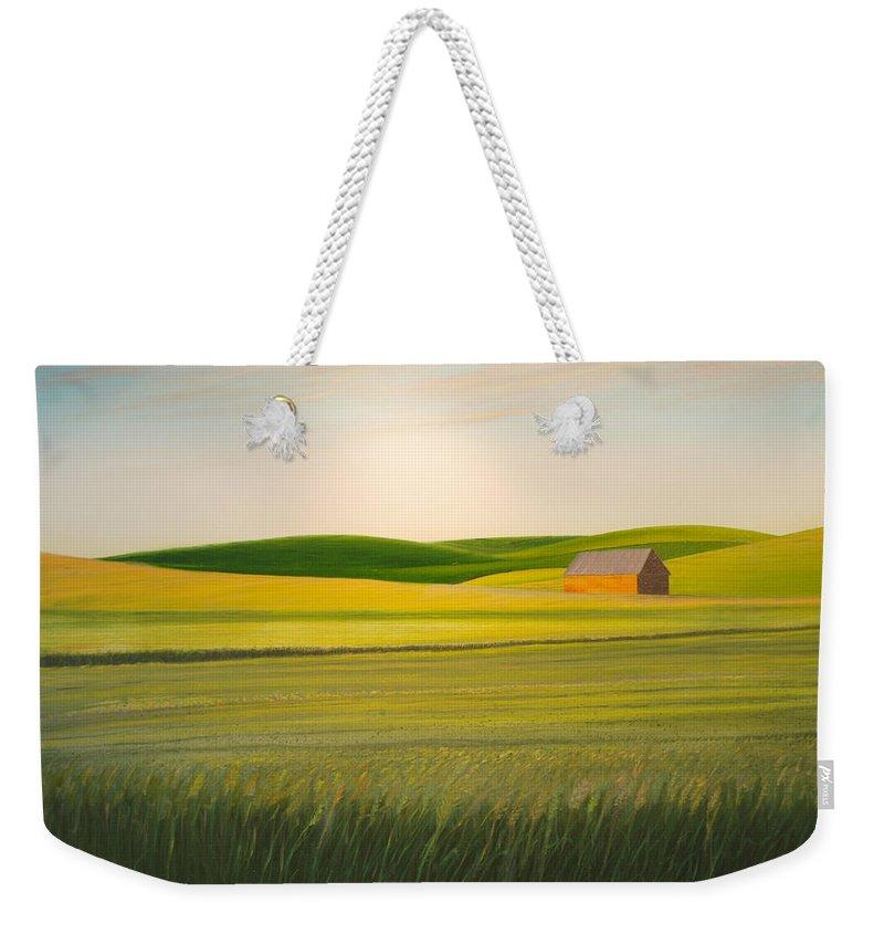 Wheat Weekender Tote Bag featuring the painting Old Highway 95 by Leonard Heid