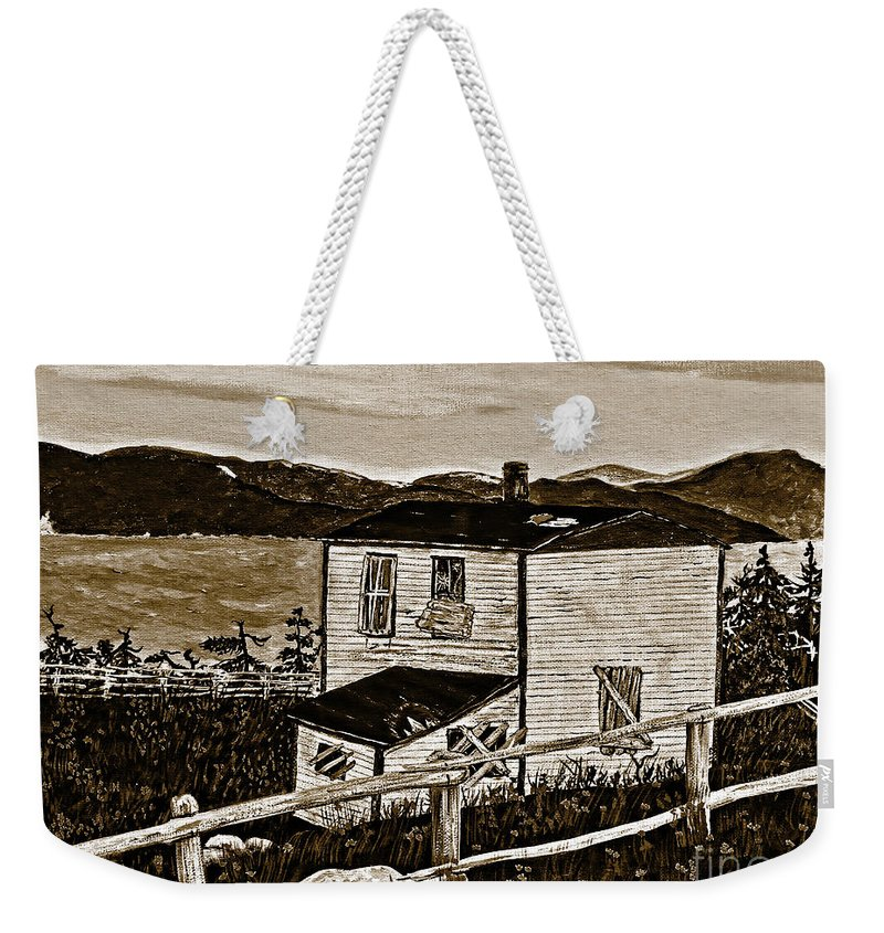 Sepia Old House Weekender Tote Bag featuring the painting Old House In Sepia by Barbara Griffin