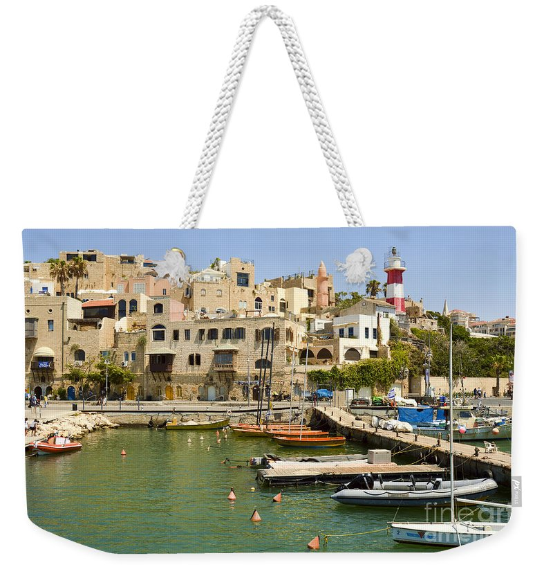 Port Weekender Tote Bag featuring the photograph Old Jaffa Port by Tomi Junger