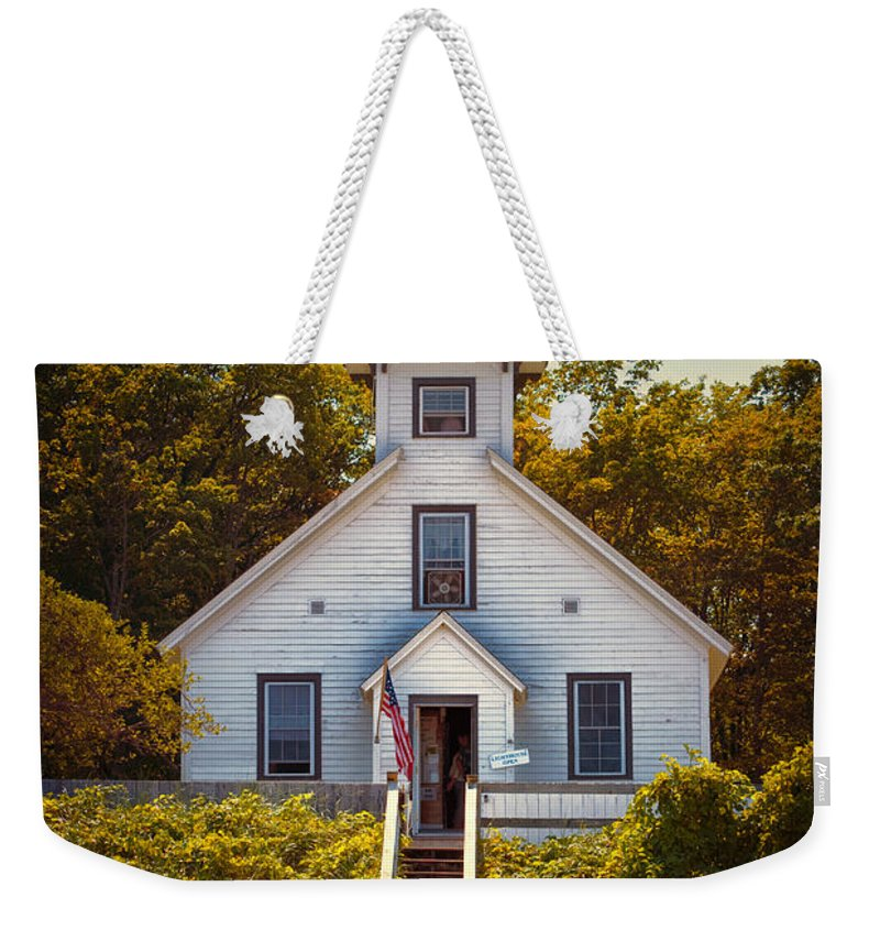 Michigan Weekender Tote Bag featuring the photograph Old Mission Point Light House 02 by Thomas Woolworth